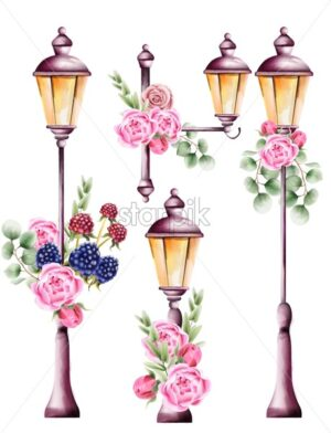 City lamps decorated with rose flowers and green leaves. Watercolor vector - Starpik Stock