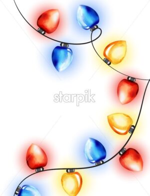 Colorful watercolor red, blue and yellow fairy lights. Winter holidays vector - Starpik Stock