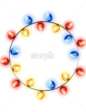 Colorful wreath of watercolor red, blue and yellow fairy lights. Winter holidays vector - Starpik Stock