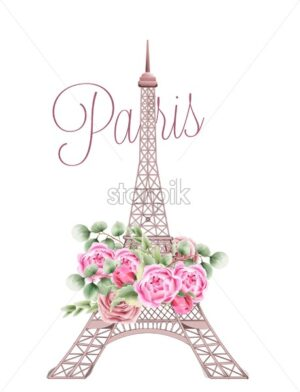 Eiffel Tower decorated with rose flowers and green leaves. Paris city of love. Watercolor vector - Starpik Stock