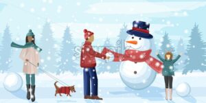 Family having fun in winter season. Snowman, walking the dog, playing with snowballs. Forest on background - Starpik Stock