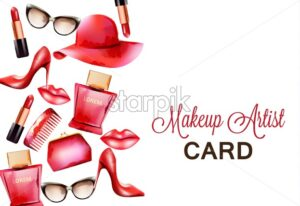 Fashion red products including comb, glasses, lipstick, perfume, pouch and high heels. Makeup artist card. Watercolor vector - Starpik Stock
