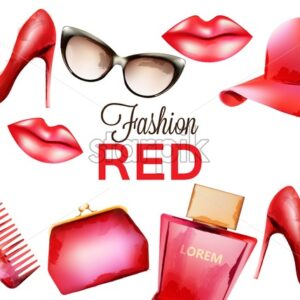 Fashion red products including comb, glasses, lipstick, perfume, pouch and high heels. Watercolor vector - Starpik Stock