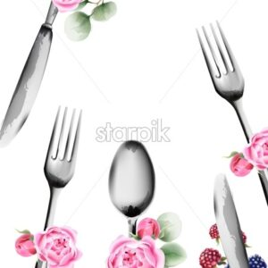 Food utensils with rose flowers ornaments. Spoon and fork. Watercolor vector - Starpik Stock