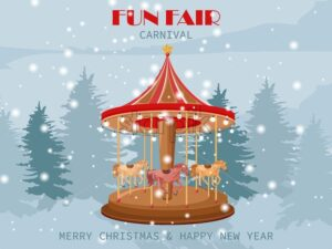 Fun Fair carnival carousel with pony horses. Winter forest on background. - Starpik Stock