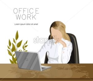 Girl working on a laptop in the office near a green plant. Wooden table. Vector - Starpik Stock