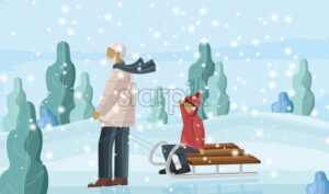 Grandfather sledging with grandson. Snowing outside in the park. Winter holidays vector - Starpik Stock