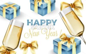 Happy New Year composition with glass of champagne and blue gift boxes. Yellow ribbons - Starpik Stock