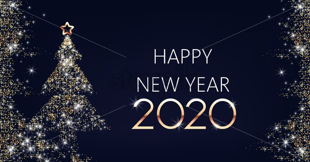 Happy New year banner with christmas tree made from golden sparkles with star. Place for text Winter holiday vector - Starpik Stock