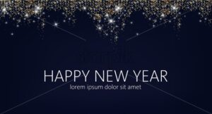 Happy New year banner with place for text and golden sparkles on top. Winter holiday vector - Starpik Stock