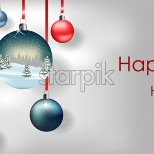 Happy holidays colorful baubles hanging on red ribbon. Winter forest reflecting. Vector - Starpik Stock
