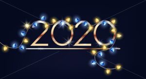 Happy new year 2020 sign with colorful fairy lights decorations. Vector - Starpik Stock