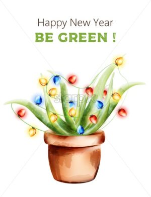 Happy new year aloe vera plant with fairy lights in ceramic pot. Watercolor vector - Starpik Stock