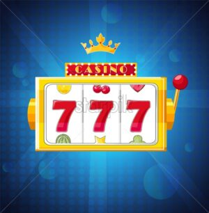 Jackpot triple seven on slot in a blue casino machine. Golden machine. Vector - Starpik Stock