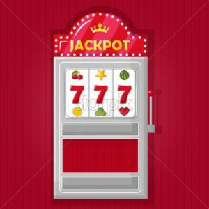 Jackpot triple seven on slot machine in a red casino machine. Vector - Starpik Stock