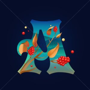 Letter A in autumn ornaments with berries and golden leaves. Flat style vector - Starpik Stock