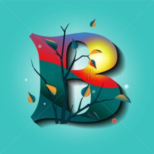 Letter B in autumn ornaments with tree and golden leaves. Mystic style flat vector - Starpik Stock