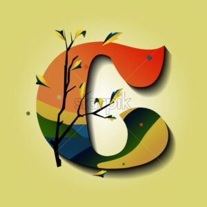 Letter C in autumn ornaments with tree and golden leaves. Mystic style flat vector - Starpik Stock