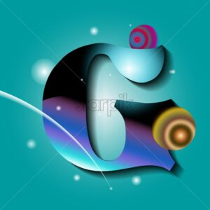 Letter G in abstract ornaments on blue background vector - Starpik Stock
