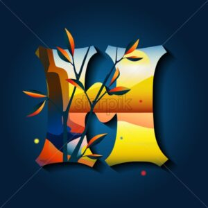 Letter H in golden autumn style. Blue background. Golden sunrise in the mountains - Starpik Stock