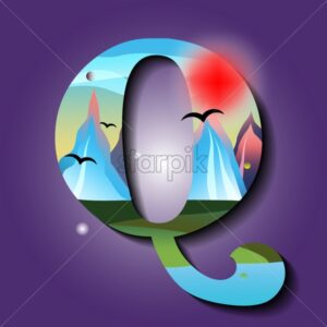 Letter Q with mountains ornaments. Golden sunset with red sky. Mystic space idea with birds flying in the sky. Flat vector - Starpik Stock