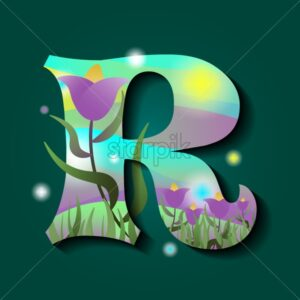 Letter R in spring style. Green background. Grass and flowers on foreground. Flat style vector - Starpik Stock