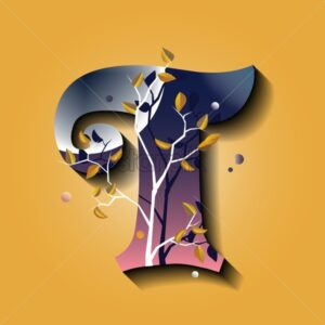 Letter T in golden autumn style. Tree with yellow leaves. Flat vector - Starpik Stock