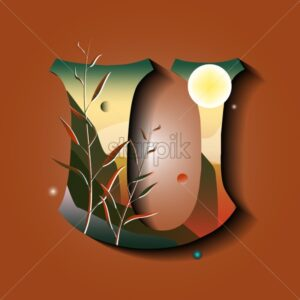 Letter U in golden autumn style. Tree with leaves. Mountains with moon. Mystic space idea. Flat vector - Starpik Stock