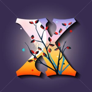 Letter X in golden autumn style. Tree with red leaves. Mystic space idea. Flat vector - Starpik Stock