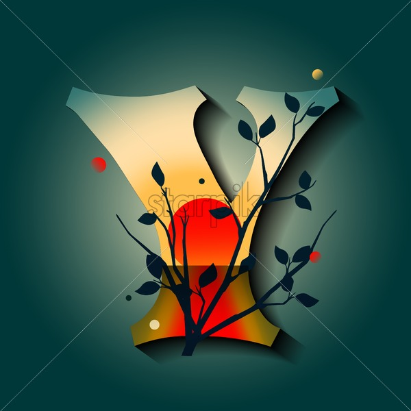 Letter Y in golden autumn style. Tree with red leaves. Mystic space idea. Flat vector - Starpik Stock