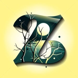 Letter Z in late autumn style. Tree without leaves. Mystic space idea. Flat vector - Starpik Stock