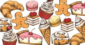 Line art colorful sweets composition. Cupcake, macarons, croissant, gingerbread cookies, ice cream, cinnamon rolls Vector - Starpik Stock