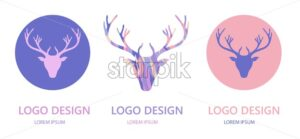 Logo design template with reindeer head and antlers. Vector - Starpik Stock