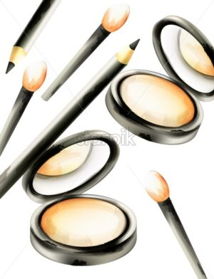 Makeup face powder with brushes and eye black color crayon. Watercolor cosmetics vector - Starpik Stock