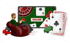 Man playing online casino while sitting on a red couch with chips in hands. Red couch. Vector - Starpik Stock