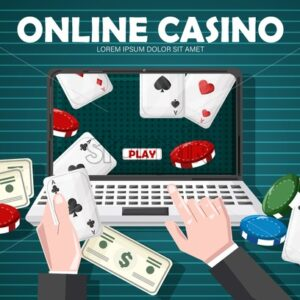 Man playing online casino with dollars, cards and chips on table. Vector - Starpik Stock