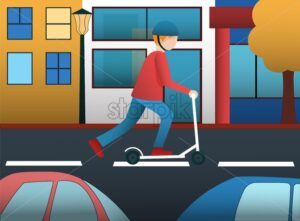 Man riding on electric scooter in the city among cars. Buildings on background. Yellow leaves trees. Flat vector - Starpik Stock