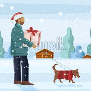 Man walking the dog in the snow while holding gift box. Snowing outside. Winter season vector - Starpik Stock