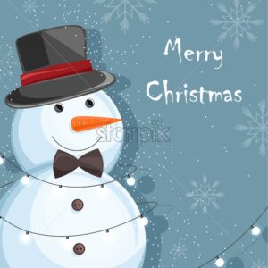 Merry christmas snowman with white fairy lights, carrot nose, black ribbon and hat. Snowflakes on background. Place for text. Winter season vector - Starpik Stock
