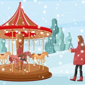 Mother having fun with her son on carnival. Forest on background. Fun christmas fair carnival. Winter holidays vector - Starpik Stock