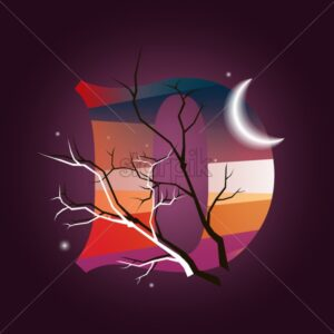 Mystic letter D. Magic forest with trees and moon. Flat style vector - Starpik Stock