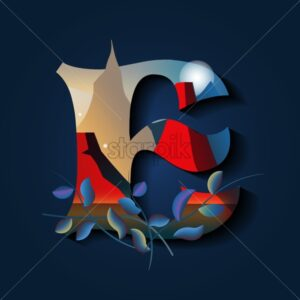 Mystic letter E with leaves and magic moon. Flat style vector - Starpik Stock