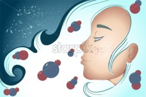 Mystic woman with blue hair dreaming. Sparkles and waves. - Starpik Stock