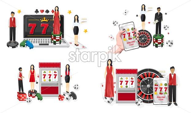 People in casino. Jackpot on slot machine and mobile phone. Playing roulette, dices and chips. Vector - Starpik Stock
