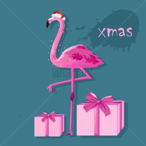 Pink flamingo with white fairy lights and gift boxes. Place for text. Winter holidays vector - Starpik Stock