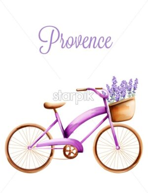 Purple bicycle with lavender in the front basket. Classic tires. Watercolor vector - Starpik Stock