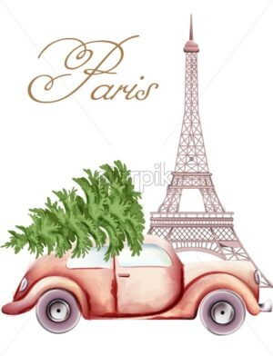 Red car with christmas tree on top passing by the Eiffel Tower. Paris in the winter season. Watercolor vector - Starpik Stock