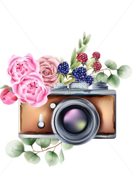 Retro style camera with rose flowers and berries ornaments. Watercolor vector - Starpik Stock