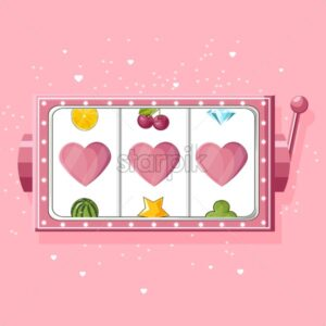 Rose slot machine for girls with hearts instead of triple seven. Vector - Starpik Stock