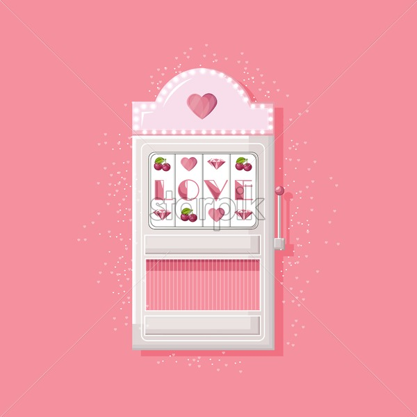 Rose slot machine for girls with love text instead of triple seven. Vector - Starpik Stock